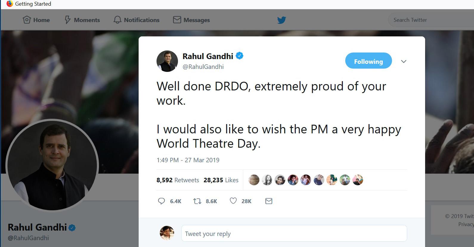 राहुल गांधीकडून मोदींना जागतिक रंगभूमी दिनाच्या शुभेच्छा
