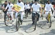 इंधन दरवाढीचा निषेध करत काँग्रेस प्रदेशाध्यक्षांसह मंत्री व आमदार सायकलवरून विधानभवनात